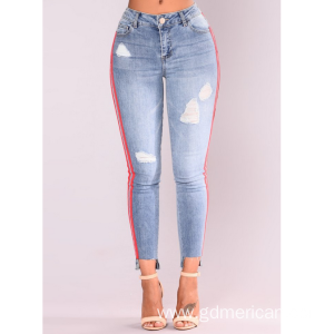 Stylish Side Double Ribbon High Waist Skinny Women's Jeans