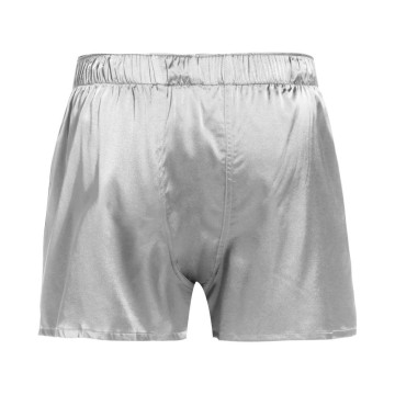 Fitted Draping Silk Boxer Men Draping Button Solid