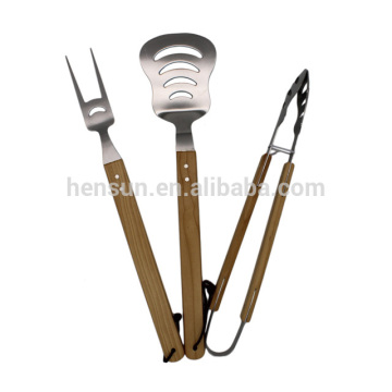 3pcs Wooden Handle Barbecue Tools Set with String