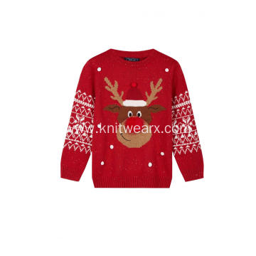 Girl's Knitted Ugly Funny Reindeer Christmas Pullover