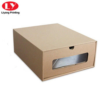 Natural brown kraft paper shoe pacakging box