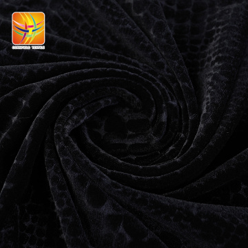260gsm Knitted Velour Embossed Black Simple Fabric