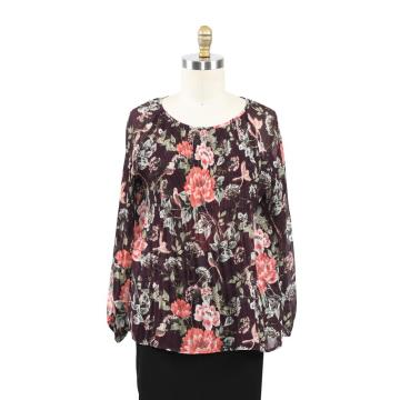 Ladies Spring Summer Printed Crystal Pleated Blouse