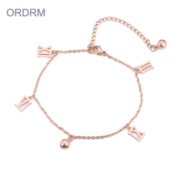 Custom Rose Gold Roman Numeral Small Charm Bracelet
