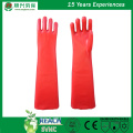 Red PVC gloves smooth finish interlock liner 23""