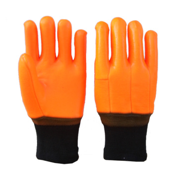 Hi-Vis Orange PVC Glove Sandy Finish Knt Wirst