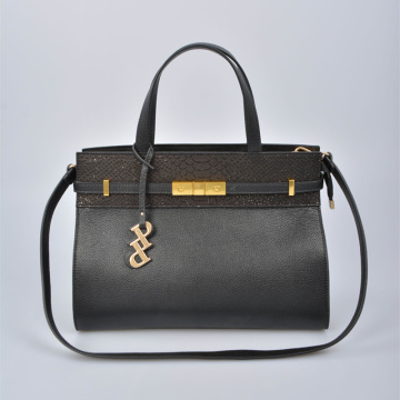 Elegant largeTote Bag with Crocodile Leather trimming