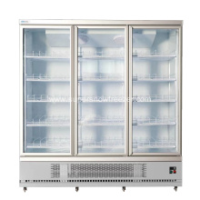Commercial three glass door upright beverage cooler
