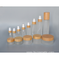 100g empty bamboo cosmetic lid frosted glass jars/cosmetic lotion bottles/cosmetic bottles and jars