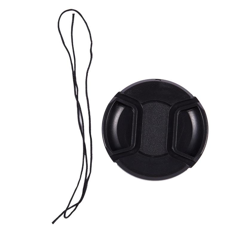 Black 62mm Center Pinch Design Front Lens Cap Cover