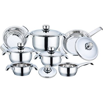 Stainless Steel Wide Edge Cookware Set 12 PCS