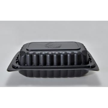"9"" Disposable Plastic Black Lunch Packing Box"
