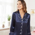 Silk Ladies Pyjamas Set Trimming Summer Sleepwear