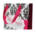 Red Ribbon Handle Coated Paper Shopping Bag
