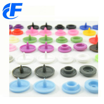 Colourful four parts prong plastic snap button
