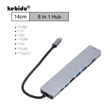 kebidu TYPE-C HUB RJ45 LAN Docking Station 8 In 1 USB Hubs 3.0 USB C HDMI Adapter Convertort TF SD Card Reader