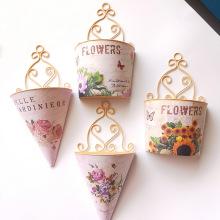 Plastic Vases Wall Hanging Basket Living Room Decoration Garden Plant Pots Imitation Metal Flower Basket Floral Hanging Baskets