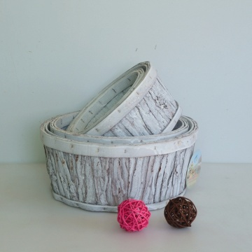 Whitewashed veneer storage basket