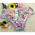 2016 China wholesale bamboo fiber high elastic women apricot eco-friendly simple panty little printed flowers underwear 101
