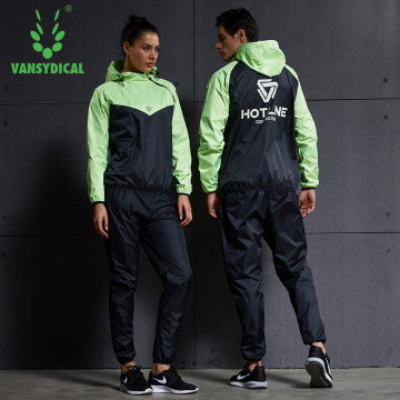 Vansydical Sports Sauna Suit Women Men Gym Clothing Running Set Fitness Workout Jogging Lose Weight Sweating Sportswear Lovers