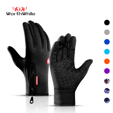 WorthWhile Winter Cycling Gloves Bicycle Warm Touchscreen Full Finger Gloves Waterproof Outdoor Bike Skiing Motorcycle Riding