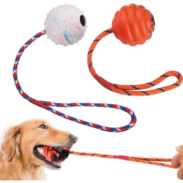 2 Pcs Dog Training Ball on Rope