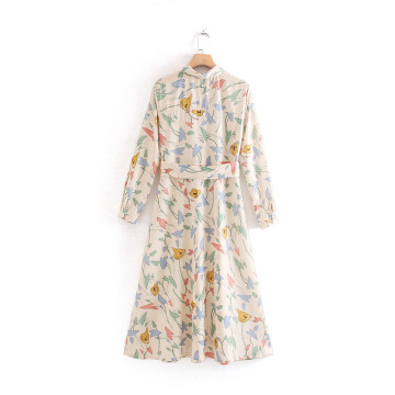 Colorful Floral Printed Shirt Dress With Belt