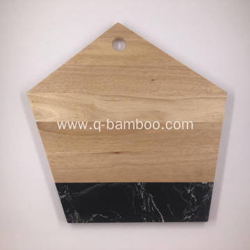 Irregular Marble & Rubber wood cutting board