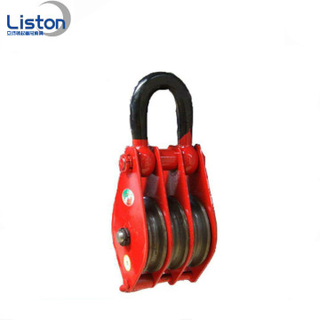 Pulley block triple wheel pulley block with hook