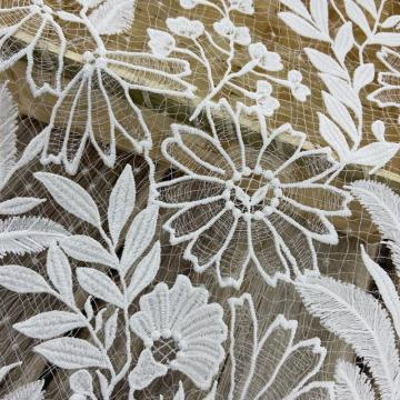 3D Milky Yarn Flower Chemical Lace Embroidery Fabric