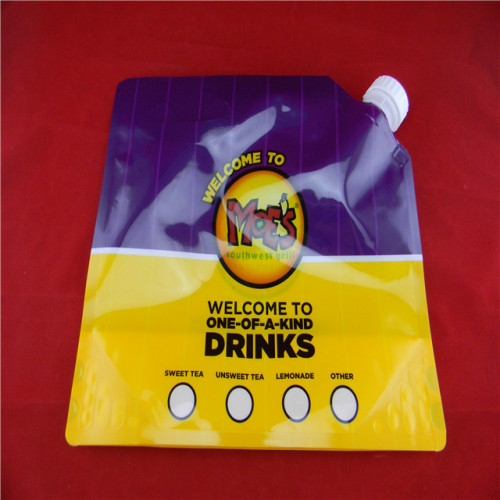 Custom laminated material plastic package spout-pouch