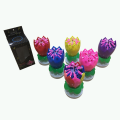 Fourteen Candles Rotatory Multicolor Flower Candle