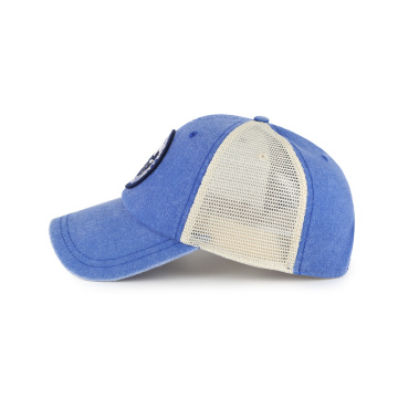 Multi patches mesh with cotton washing baseball cap