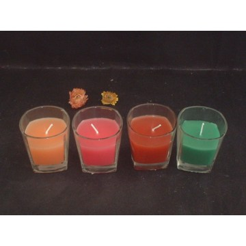 Colorful Clear Glass Votive Candles