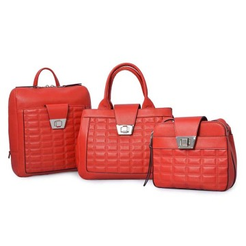 Multifunctional Leather Saffiano Skin Red Shopping Tote Bags