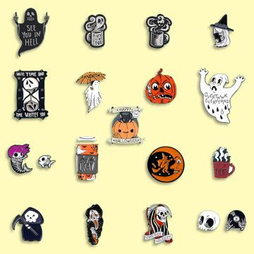 Halloween Enamel Pin Pumpkin Ghost Brooch Trick or Treat Jewelry Soft Enamel Pins Gift for Friends kids