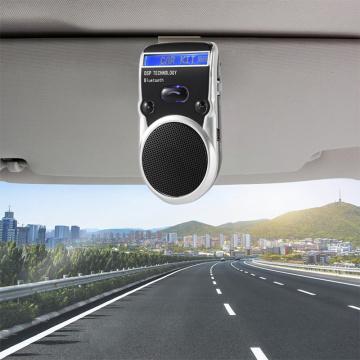 JINSERTA Solar Powered Car Speakerphone Bluetooth Kit Hands free Sun Visor Speaker with Phone Book Voice Calling