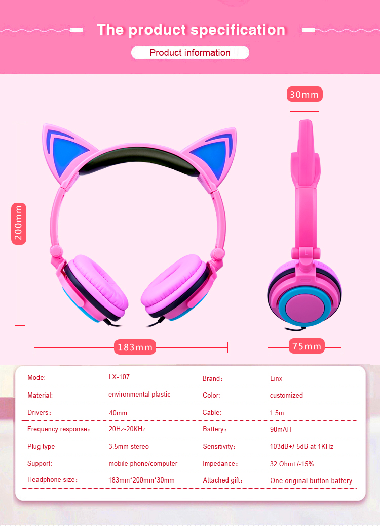 LED Light Cosplay Flash Headphone Cat Ear Headset