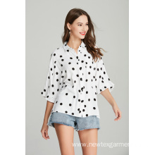 hot sale summer ladies printed dots blouse