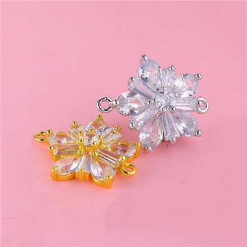 Juya DIY Bracelet Earring Making Components Handmade Cubic Zirconia Flower Star Charms Connector Accessories Supplies