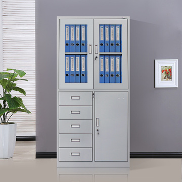 Durable Metal Office Cupboard with 5 drawers
