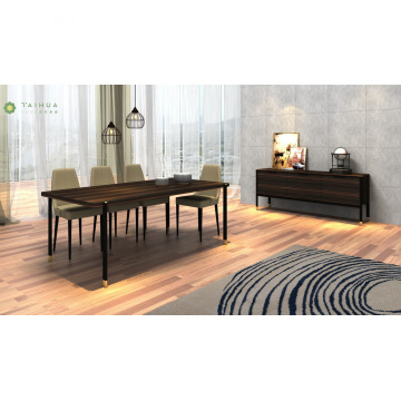 Dark Wenge Dining Sets Marco de metal