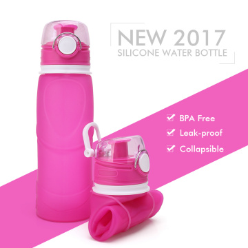Sport silicone collapsible water drinking bottle