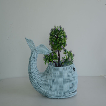 blue plastic rattan weaving whale decoration pot