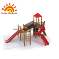 Children swing and slide outdoor playground