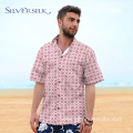 Print Men Blouse Short Red Flower Custom Shirt