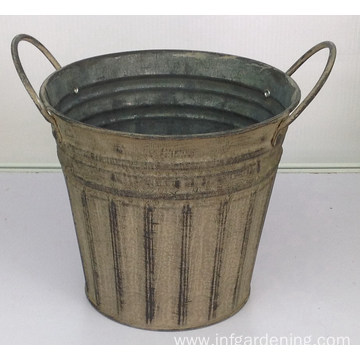 Vintage iron binaural flower bucket