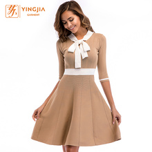 Fashionable Bow Collar Half Sleeve Slim-fit knit dress