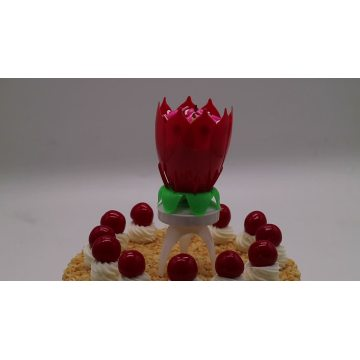 Lotus flower tripod type musical birthday candle