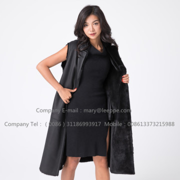 Women Black Lady Fashionable Mink Vest